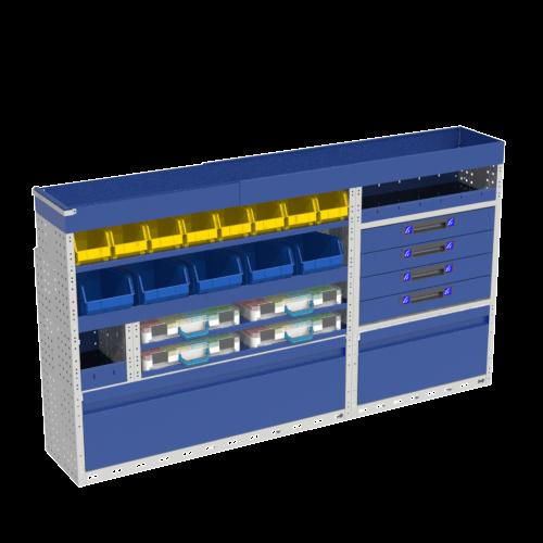 Allestimento luxury, sinistra con copri passaruota ad anta-basculante blu, cassettiere con cassetti blu, scaffalature con valigie in plastica trasparenti, scaffalature con contenitori asportabili gialli per veicoli MERCEDES VITO 2014 LONG (PASSO 3200 L)