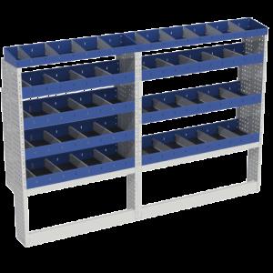 Scaffalatura interna base, sinistra colore blu con 2 copri passaruota aperti e scaffalature blu con divisori e scaffalatura terminale con divisori per veicoli MERCEDES SPRINTER 2018 L1H1 COMPACT.