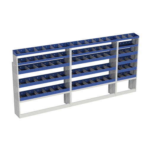 Scaffalatura interna base, sinistra colore blu con 2 copri passaruota aperti e scaffalature blu con divisori e scaffalatura terminale con divisori per veicoli MERCEDES SPRINTER 2018 L3H2 LONG