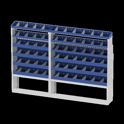Scaffalatura interna destra base con copri passaruota aperto, scaffalature con divisori e terminale con divisori per furgoni MERCEDES SPRINTER 2018 L3H2 LONG
