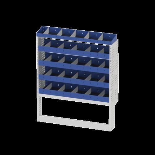Scaffalatura interna destra base con copri passaruota aperto, scaffalature con divisori e terminale con divisori per furgoni MERCEDES SPRINTER 2018 L1H1 COMPACT.