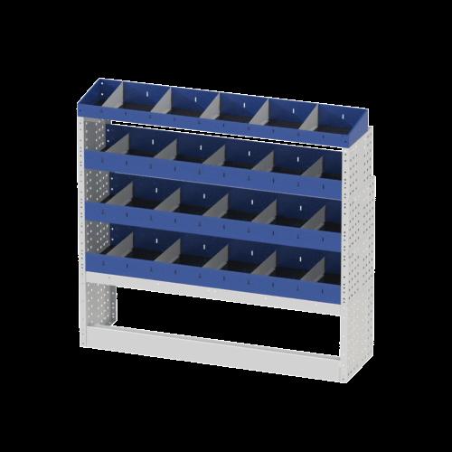 Scaffalatura interna destra base con copri passaruota aperto, scaffalature con divisori e terminale con divisori per furgoni MERCEDES VITO 2014 EXTRALONG.