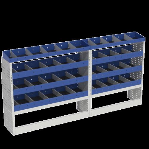 Scaffalatura interna base, sinistra colore blu con 2 copri passaruota aperti e scaffalature blu con divisori e scaffalatura terminale con divisori per veicoli MERCEDES VITO 2014 EXTRALONG
