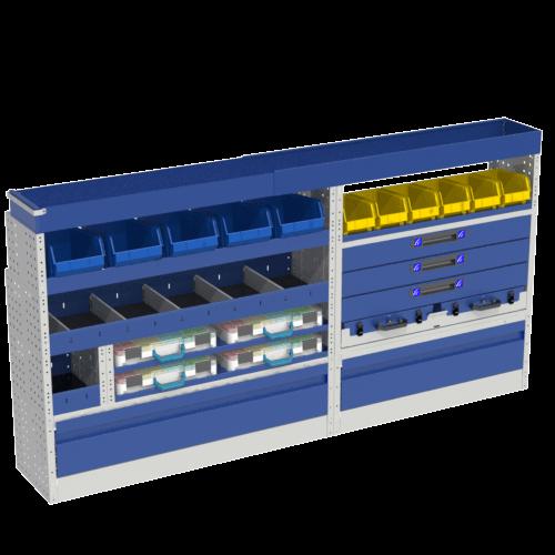 Allestimento luxury, sinistra con copri passaruota ad anta-basculante blu, cassettiere con cassetti blu, scaffalature con valigie in plastica trasparenti, scaffalature con contenitori asportabili gialli per veicoli MERCEDES VITO 2014 EXTRALONG