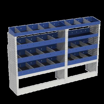 Scaffalatura interna base, sinistra colore blu con 2 copri passaruota aperti e scaffalature blu con divisori e scaffalatura terminale con divisori per veicoli MERCEDES VITO 2014 COMPACT