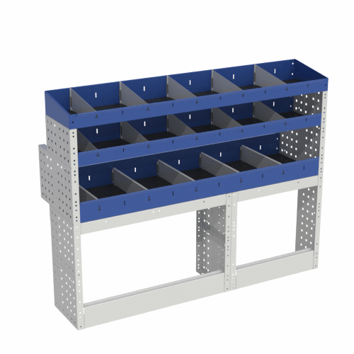 Scaffalatura interna base, sinistra colore blu con 2 copri passaruota aperti e scaffalature blu con divisori e scaffalatura terminale con divisori per veicoli Mercedes Citan 2013 Long