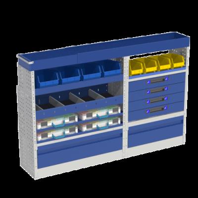 Allestimento luxury, sinistra con copri passaruota ad anta-basculante blu, cassettiere con cassetti blu, scaffalature con valigie in plastica trasparenti, scaffalature con contenitori asportabili gialli per veicoli MERCEDES VITO 2014 COMPACT