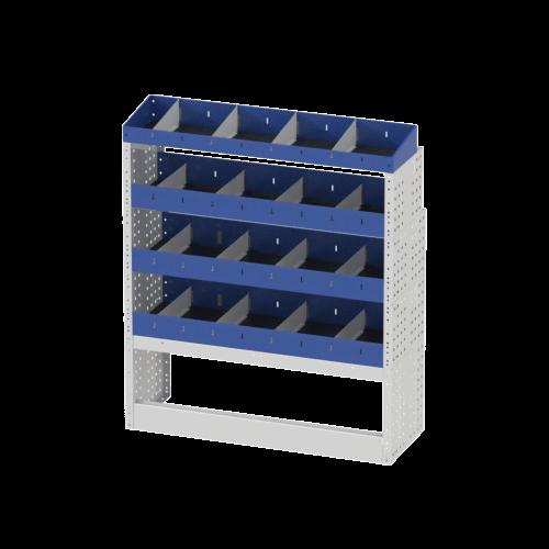 Scaffalatura interna destra base con copri passaruota aperto, scaffalature con divisori e terminale con divisori per furgoni MERCEDES VITO 2014 LONG (PASSO 3200 L)