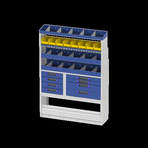 Scaffalatura interna destra comfort con copri passaruota con antina di chiusura, cassettiere con cassetti blu, scaffalature con divisori, scaffalatura con contenitori asportabili gialli e scaffalatura terminale con divisori per furgoni MERCEDES SPRINTER 2018 L2H2 STANDARD