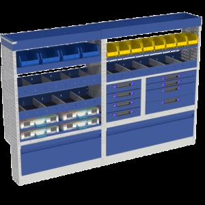 Allestimento luxury, sinistra con copri passaruota ad anta-basculante blu, cassettiere con cassetti blu, scaffalature con valigie in plastica trasparenti, scaffalature con contenitori asportabili gialli per veicoli MERCEDES SPRINTER 2018 L1H1 COMPACT.