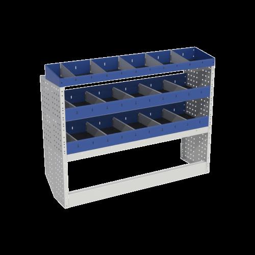 Scaffalatura interna base, sinistra colore blu con 2 copri passaruota aperti e scaffalature blu con divisori e scaffalatura terminale con divisori per veicoli DACIA DOKKER 2014 VAN