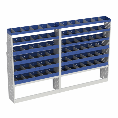 Scaffalatura interna base, sinistra colore blu con 2 copri passaruota aperti e scaffalature blu con divisori e scaffalatura terminale con divisori per veicoli MERCEDES SPRINTER 2018 L2H2 STANDARD.