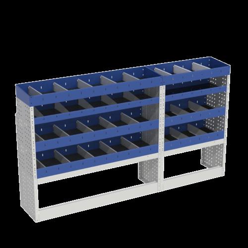 Scaffalatura interna base, sinistra colore blu con 2 copri passaruota aperti e scaffalature blu con divisori e scaffalatura terminale con divisori per veicoli MERCEDES VITO 2014 LONG (PASSO 3200 L)